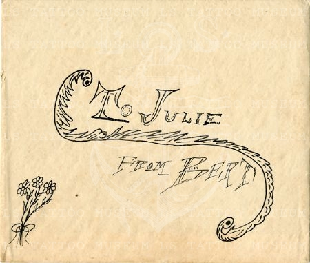 Envelope for a Christmas card from Bert Grimm to Julie