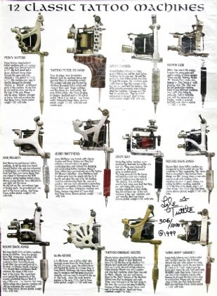 12  Classic Tattoo Machines Poster