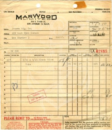 Marwood Limited Invoice to Jensen MFG