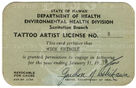 Mike Shingle tattoo artist license