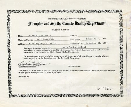 Health Department certifticate - Bernard Steinhart - Sailor Barney